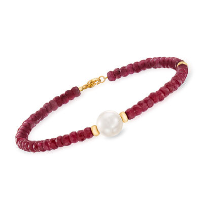 26.00 ct. t.w. Beaded Ruby Bracelet with 10mm Cultured Pearl in 14kt Yellow Gold