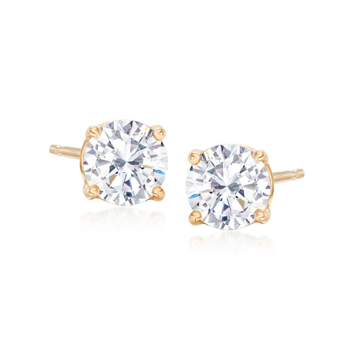 1.00 ct. t.w. CZ Stud Earrings in 14kt Yellow Gold, , default