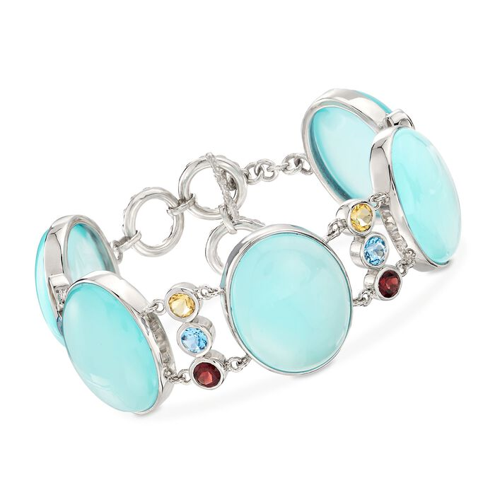 """Aqua Chalcedony and 5.60 ct. t.w. Multi-Stone Bracelet in Sterling Silver. 7.5"""""""