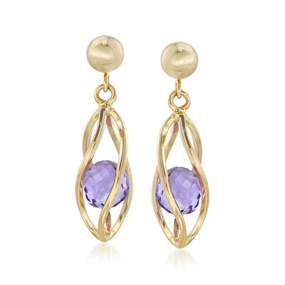 2.00 ct. t.w. Amethyst Cage Drop Earrings in 14kt Yellow Gold