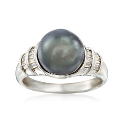 C. 1990 Vintage Cultured Black Pearl and .50 ct. t.w. Baguette Diamond Ring in 14kt White Gold, , default