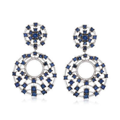 5.50 ct. t.w. Sapphire and .20 ct. t.w. White Zircon Drop Earrings in Sterling Silver, , default