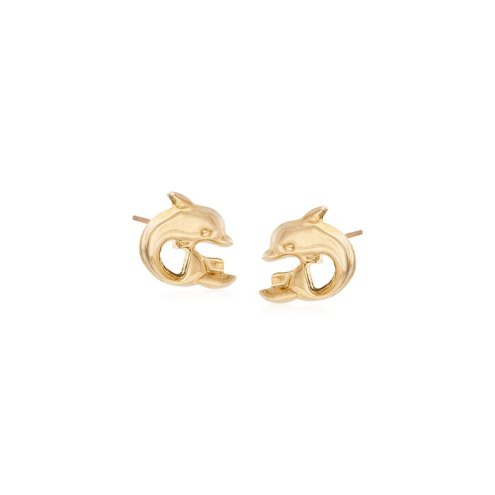 Child's 14kt Yellow Gold Dolphin Stud Earrings, , default