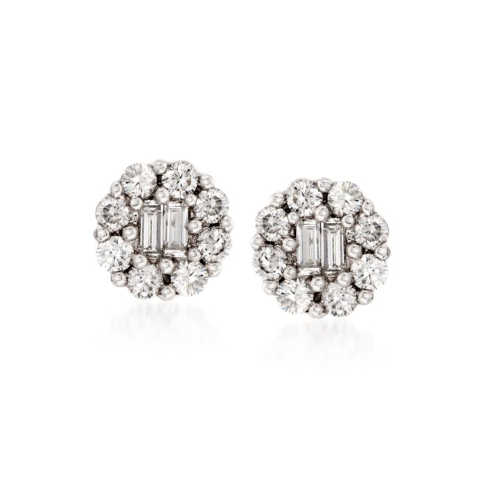 Gregg Ruth .75 ct. t.w. Diamond Earrings in 18kt White Gold