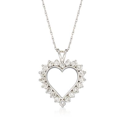 1.00 ct. t.w. Diamond Open-Space Heart Pendant Necklace in 14kt White Gold
