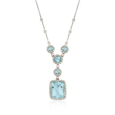 13.25 ct. t.w. Aquamarine and .71 ct. t.w. Diamond Pendant Necklace in 18kt White Gold, , default