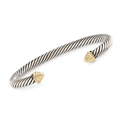 "C. 2000 Vintage David Yurman Sterling Silver and 14kt Yellow Gold Cuff Bracelet. 7"", , default"