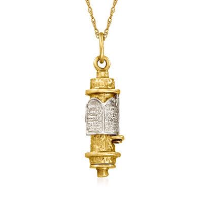 C. 1970 Vintage 14kt Two-Tone Gold Mezuzah Pendant Necklace