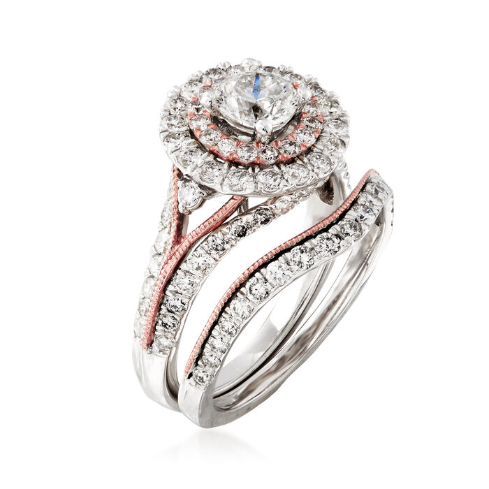 2.00 ct. t.w. Diamond Bridal Set: Engagement and Wedding Rings in 14kt Two-Tone Gold