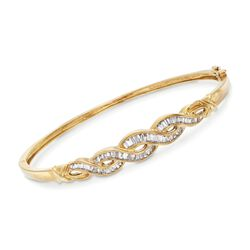 "C. 1980 Vintage 1.10 ct. t.w. Baguette Diamond Braid Bangle Bracelet in 10kt Yellow Gold. 7"", , default"