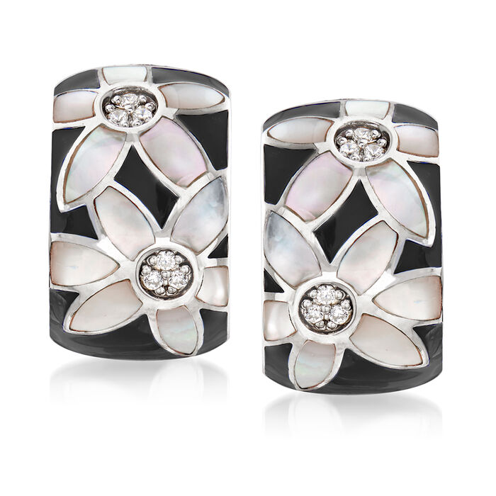 "Belle Etoile ""Moonflower"" Black Enamel and Mother-Of-Pearl Hoop Earrings with .10 ct. t.w. CZ in Sterling Silver"