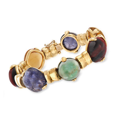 C. 1990 Vintage Legnazzi Multi-Gem Bracelet in 18kt Yellow Gold, , default