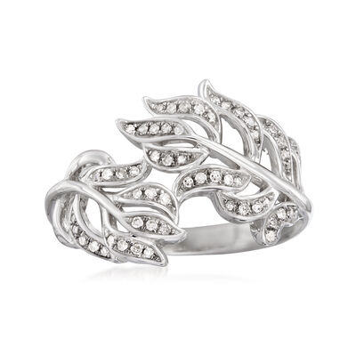 .20 ct. t.w. Diamond Leaf Bypass Ring in Sterling Silver, , default