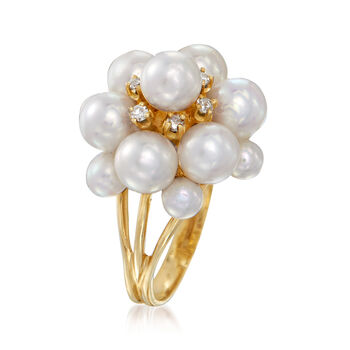 C. 1970 Vintage 4-6mm Cultured Pearl and .12 ct. t.w. Diamond Cluster Ring in 14kt Yellow Gold. Size 7, , default