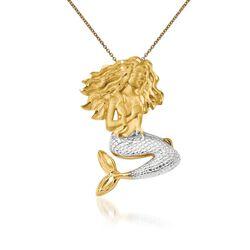 "14kt Two-Tone Gold Mermaid Pendant Necklace. 18"", , default"