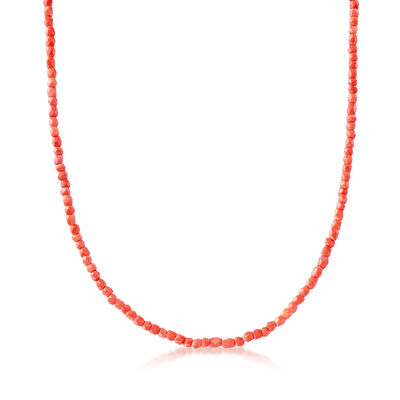 C. 1970 Vintage Coral Beaded Necklace in 14kt Yellow Gold, , default