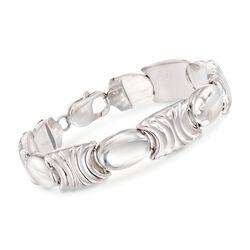 Italian Sterling Silver Stampato Link Bracelet, , default