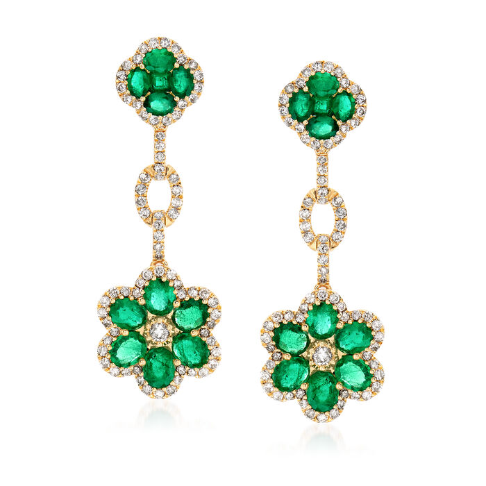 4.90 ct. t.w. Emerald and 1.73 ct. t.w. Diamond Flower Drop Earrings in 18kt Yellow Gold