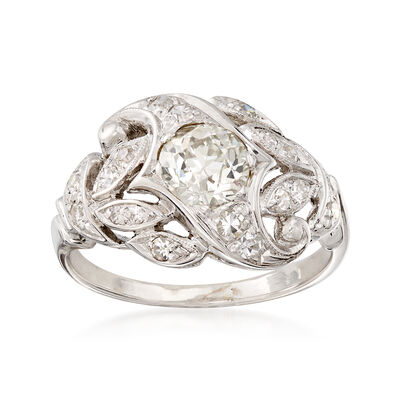 C. 1950 Vintage .90 ct. t.w. Diamond Cluster Ring in 14kt White Gold, , default