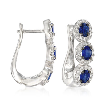 1.10 ct. t.w. Sapphire and .62 ct. t.w. Diamond Drop Earrings in 18kt White Gold, , default