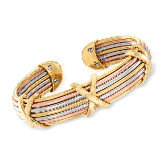 "C. 1980 Vintage 14kt Tri-Colored Gold X Cuff Bracelet. 7"""