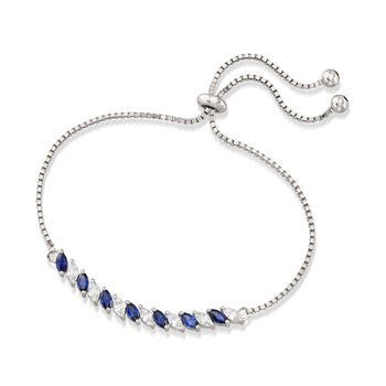 Simulated Sapphire and 1.00 ct. t.w. CZ Bolo Bracelet in Sterling Silver
