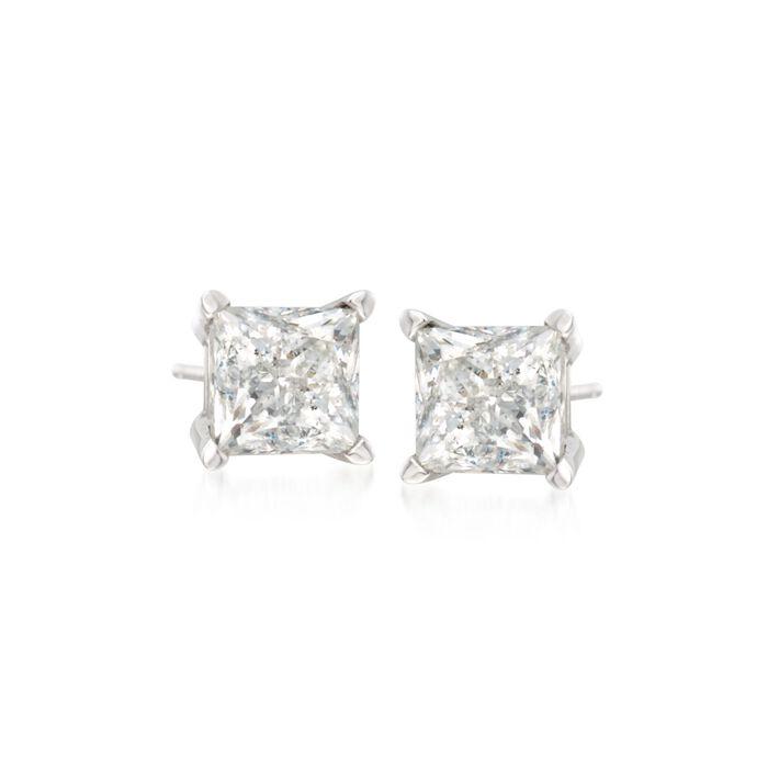.25 ct. t.w. Princess-Cut Diamond Stud Earrings in 14kt White Gold, , default