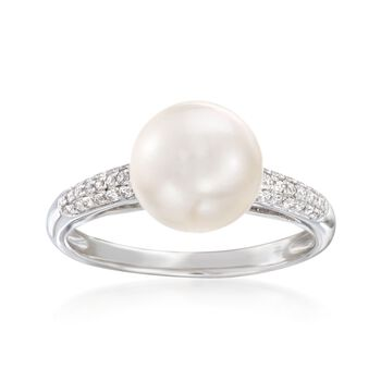 8.5-9mm Cultured Pearl and .13 ct. t.w. Diamond Ring in 14kt White Gold, , default