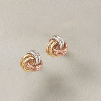 14kt Tri-Colored Gold Love Knot Earrings