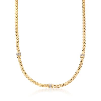 "Phillip Gavriel ""Woven Gold"" .30 ct. t.w. Pave Diamond Station Link Necklace in 14kt Yellow Gold, , default"