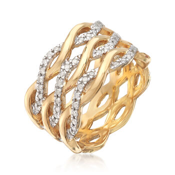 .50 ct. t.w. Diamond Wavy Eternity Band in 18kt Gold Over Sterling Silver. Size 5, , default