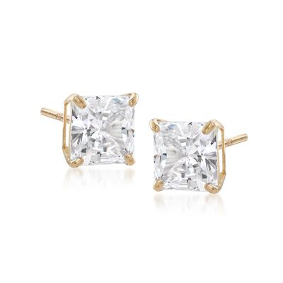 2.00 ct. t.w. Princess-Cut CZ Stud Earrings in 14kt Yellow Gold, , default
