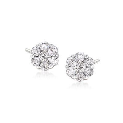 .25 ct. t.w. Diamond Floral Stud Earrings in 14kt White Gold, , default