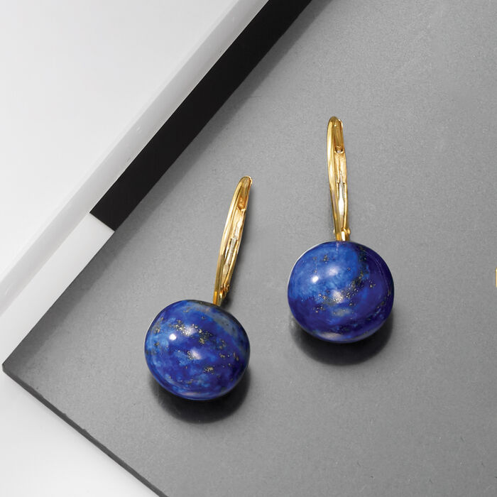 Lapis Earrings in 14kt Yellow Gold