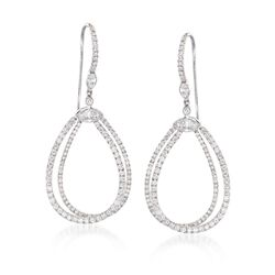 "Kwiat ""Echo"" 1.55 ct. t.w. Diamond Open Teardrop Earrings in 18kt White Gold, , default"