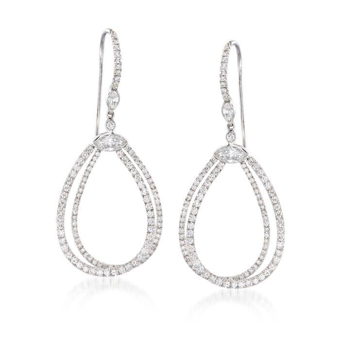 """Kwiat """"Echo"""" 1.55 ct. t.w. Diamond Open Teardrop Earrings in 18kt White Gold, , default"""