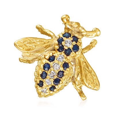 C. 2010 Vintage .30 ct. t.w. Sapphire and .10 ct. t.w. Diamond Bee Pin in 14kt Yellow Gold