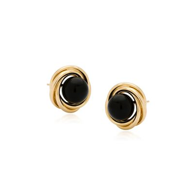 8mm Black Onyx Love Knot Earrings in 14kt Yellow Gold, , default