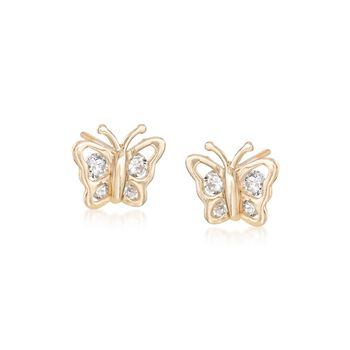 Child's .18 ct. t.w. CZ Butterfly Stud Earrings in 14kt Yellow Gold, , default