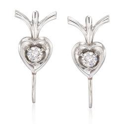 C. 1970 Vintage .20 ct. t.w. Diamond Heart Earrings in 18kt White Gold, , default