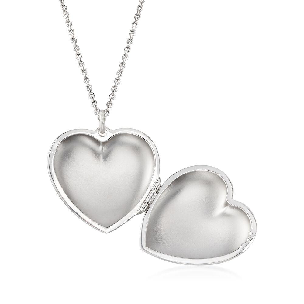 b6e0acd712515c Italian Sterling Silver Monogram Heart Locket Necklace. 18