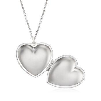"Italian Sterling Silver Monogram Heart Locket Necklace. 18"", , default"