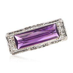 C. 1970 Vintage Rectangular Purple Glass Filigree Pin in 10kt White Gold, , default