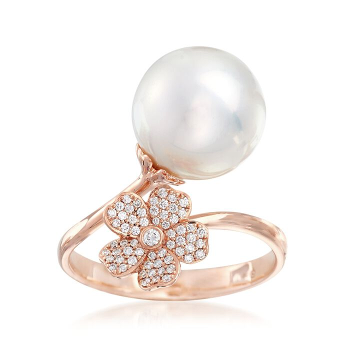 "Mikimoto ""Cherry Blossom"" 11mm A+ South Sea Pearl and .14 ct. t.w. Diamond Floral Bypass Ring in 18kt Rose Gold"