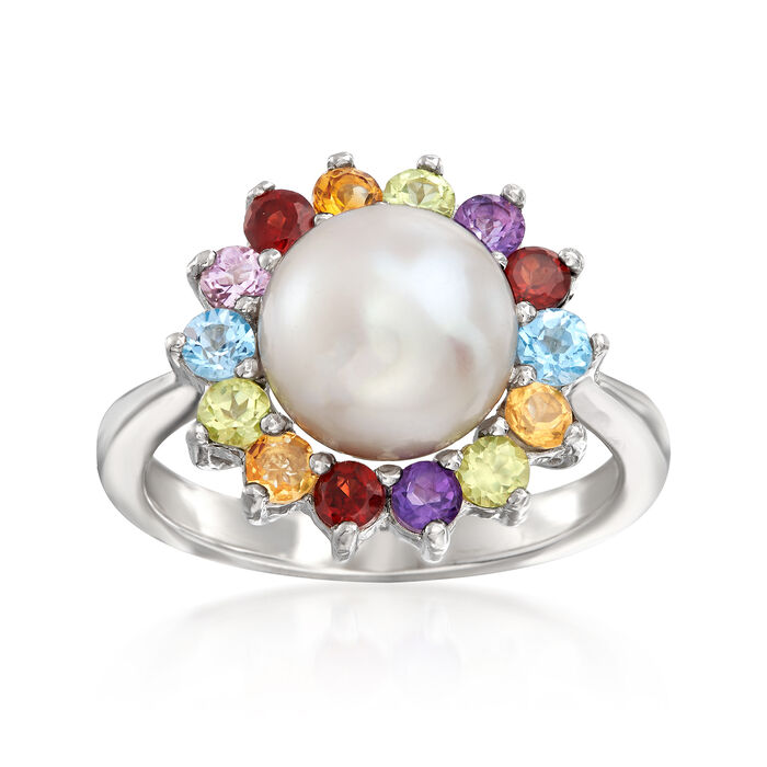 9-9.5mm Cultured Pearl and .49 ct. t.w. Multi-Gemstone Ring in Sterling Silver