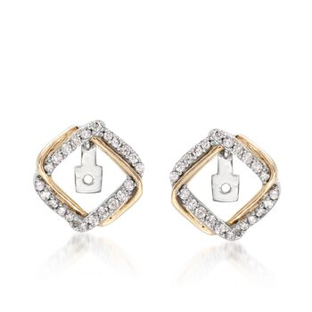.25 ct. t.w. Diamond Interlocking Square Earring Jackets in 14kt Two-Tone Gold