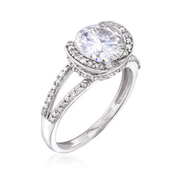 1.90 Carat Synthetic Moissanite Solitaire and .25 ct. t.w. Diamond Engagement Ring in 14kt White Gold