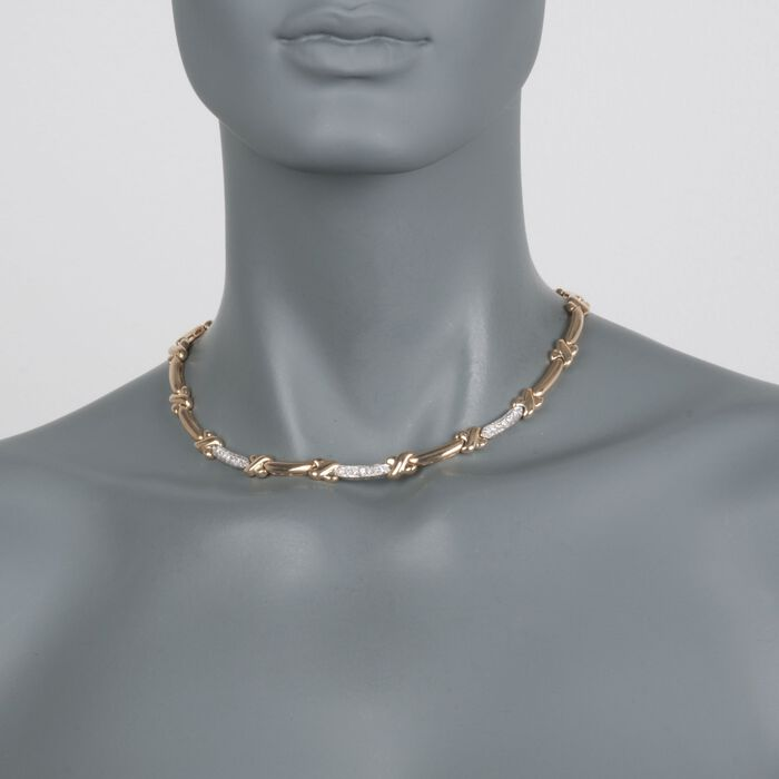 """C. 1980 Vintage .60 ct. t.w. Diamond X Link Necklace in 14kt Yellow Gold with White Rhodium. 16"""""""