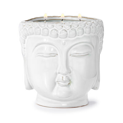 """Thompson Ferrier """"Lotus & Lily"""" White Buddha Candle, , default"""