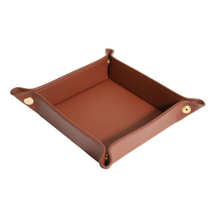 Royce Tan Leather Valet Tray, , default